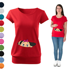 Maternity Pregnancy T-shirt Top Funny PEEK-A-BOO baby shower gift Peeking Girl