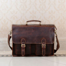 NEW Men's Vintage Premium Genuine real Leather Briefcase Messenger Bag U.K Brown