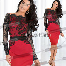 XMAS FIT RED Womens Long Sleeve Cocktail Lace Party Prom Pencil Dress Clubwear