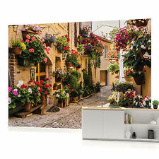 Cobbled Street with Flowers PHOTO WALLPAPER WALL MURAL ROOM DECOR (1339P)