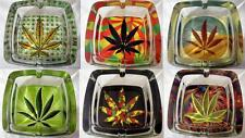 10 mm Thick Square Glass Canabis Marijuana Leaf Delux Ashtray Smokers Gift x 1