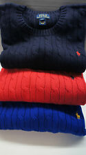 POLO RALPH LAUREN BOYs KID CREW CABLE KNIT SWEATER/JUMPER NAVY BLUE RED S M L XL