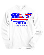 Chi Psi AMERICAN APPAREL Long Sleeve T Shirt USA Whale Flag NEW
