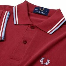 HOT NWT Red / Blue White Stripe Twin 1fred Tipped Men's 1Perry Polo Shirt S M L