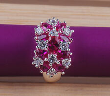Fashion Round  cut  Ruby  gemstones  925sterling silver ring size7 8 9  M188