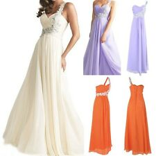 NEW Long Evening One Shoulder Beads Gown Bridesmaid Prom Formal Party Dress
