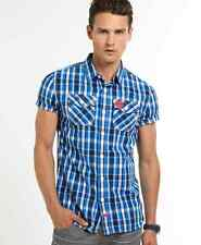 New Mens Superdry Washbasket Check Shirt Miami Blue Check
