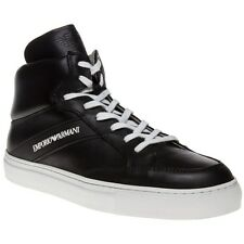 New Mens Emporio Armani Black Hi Top Leather Trainers Statement Sneakers Lace Up