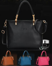 Fashion New Women Faux Leather Handbag Shoulder Bag Black Large Tote Satchel