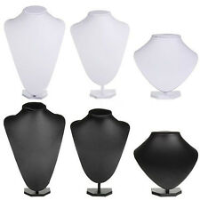 PU Leather Black White Jewellery Bust Necklace Earring Display Stand Holder CA