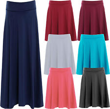 New Womens Plain Stretch Band Flared  Skater Ladies Party Skirts Plus Size 14-28