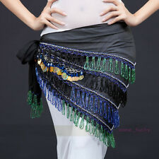 New Belly Dance Hand-sewn Beads Egypt Style Hip Scarf Belt Triangle Shawl Belt