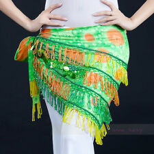 New Belly Dance Hand-sewn Beads Tassel Egypt Hip Scarf Belt Triangle Shawl Belt