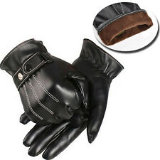 Men Black Leather Winter Motorcycle Warm Gloves Full Finger Touch Screen Mittens