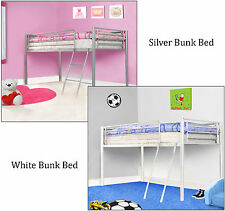 Kids Metal Bunk Bed Mid Sleeper Cabin Silver White Single Bed Frame 3ft New