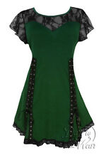 Plus Size Green Black Lace Gothic Roxanne Sweetheart Corset Top 1X 2X 3X 4X 5X
