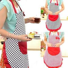 Vintage Women Polka Dot Apron Shabby Floral Frilly Sugarcraft Bowknot Aprons