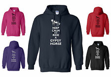 New KEEP CALM and RIDE A GYPSY HORSE, ADULT FUNNY HORSE / PONY HOODY  S to XXL