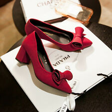 Elegant women's shallow mouth bowknot point toe low heel block suede shoes