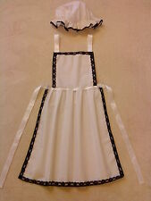LADIES APRON & MOP CAP black lace trim Victorian Edwardian Tudor fancy dress set