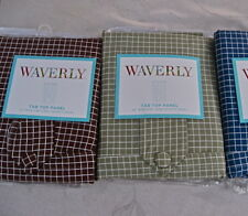 """Waverly Grid Check Window Panel:Brown or Green 84"""" Length Tab Top Cotton Classic"""