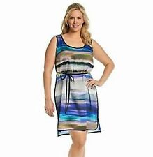 "DKNY JEANS Plus Size 16W, 18W ""Baja Beach"" Multi Wavy Stripe Dress *NWT $109"