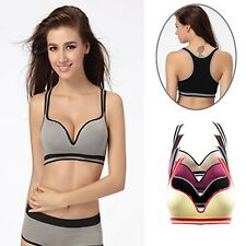 Women Wire Free Push Up Sports Bra Tops Running Yoga Gym Sleep Fitness Clothes