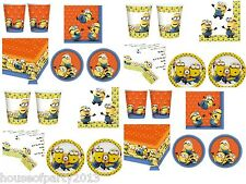 Despicable me 2 minion party packs, tableware, plates, cups, napkins, tablecover