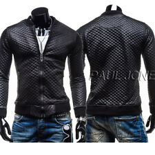 HOT SALE CHEAP For Mens Jacket Slim Jackets Faux Leather Coats Winter Black Tops