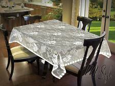 """Cream or White Tablecloth Lace Crochet Effect Roses Oblong 51"""" x 71"""" (130x180cm)"""
