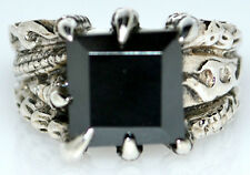 Hematite Sterling Silver Mens Ring Unique ANTIQUE luk 925, Size N, 6½ to Z+5, 15