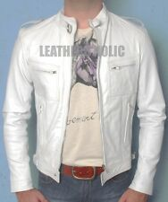 MENS WHITE SLIM FIT LEATHER JACKET CLUB PARTY  BNWT ALL SIZE XS-3XL