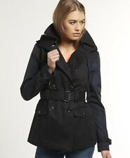 New Womens Superdry Super Hooded Raincoat Jacket Mix Black