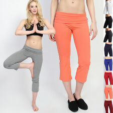 TheMogan Foldover Waist Cropped Yoga Pants Flared Lounge Capri Shorts