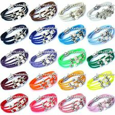Multilayer Woven Wristband Cuff Punk Pearl Loose Beads Magnetic Bangle