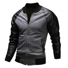 Rich Young Men's Cool Motorcycle Coats Baseball Jackets PU Leather Sleeve Tops .