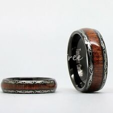 Couple His Her Tungsten Carbide Real Wood Wedding Band Comfort Fit Ring Set Gift