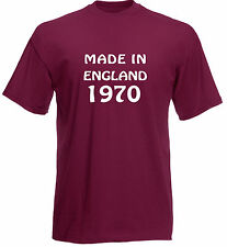 Made In England 1970, 71, 72, 73, 74, 75, 76, 77, 78, 79 T-Shirt in burgundy.