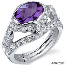 Oravo Sterling Silver Oval-cut Prong-set Gemstone and Cubic Zirconia Ring