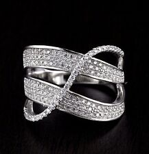 Womens Solid 925 Sterling Silver CZ Micro Pave Highway X Ring