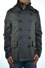 New Mens Superdry Classic Pea Coat Charcoal Marl Grey MJD1