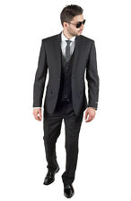 Slim Fit Men Suit 3 Piece Vested Solid Black Notch Lapel Double Vents AZAR MAN