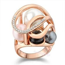Multicolor Pearl Crystal Statement Cocktail Ring 18K Rose GP Women Gift R806