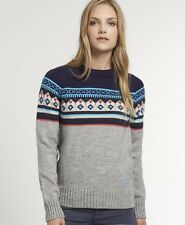 New Womens Superdry Falun Fairisle Crew Jumper Grey Marl KDW