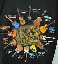 Country Music Famous Country Guitars T shirt Black NWT Johnny Cash,Willie Nelson