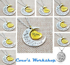 I LOVE YOU TO THE MOON AND BACK NECKLACE MOM DAD SISTER AUNT GRANDMA DAUGHTER