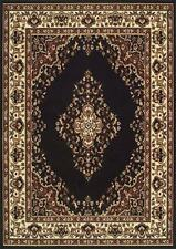 Traditional 112 Z Black Budget KESHAN Rug in various sizes and runner