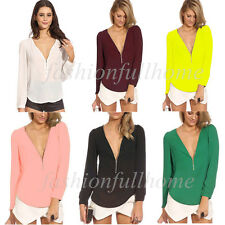 Women Sexy V-neck Long Sleeve Zipper Chiffon Solid Blouses Blusas Tops Shirt