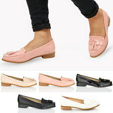 Womens ladies smart work school office classic flat tassel loafers shoes size