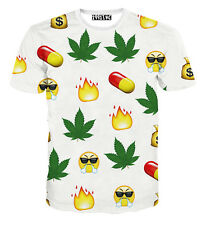 2015 NEWEST Angry Emoji face maple leaf pills flame 3D printed T-shirt Tee TOP